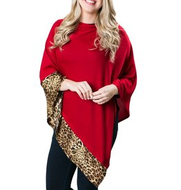 Poncho Camel Leopard with Solid Red
