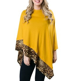 Poncho Camel Leopard with Solid Yellow