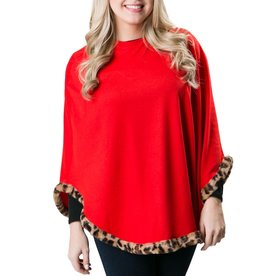 Emory Poncho -  Red with Leopard
