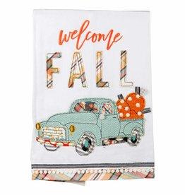 Welcome Fall Pumpkin Truck Tea Towel