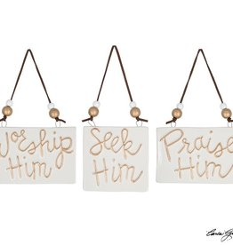 GOLD RAISED MESSAGE ORNAMENTS
