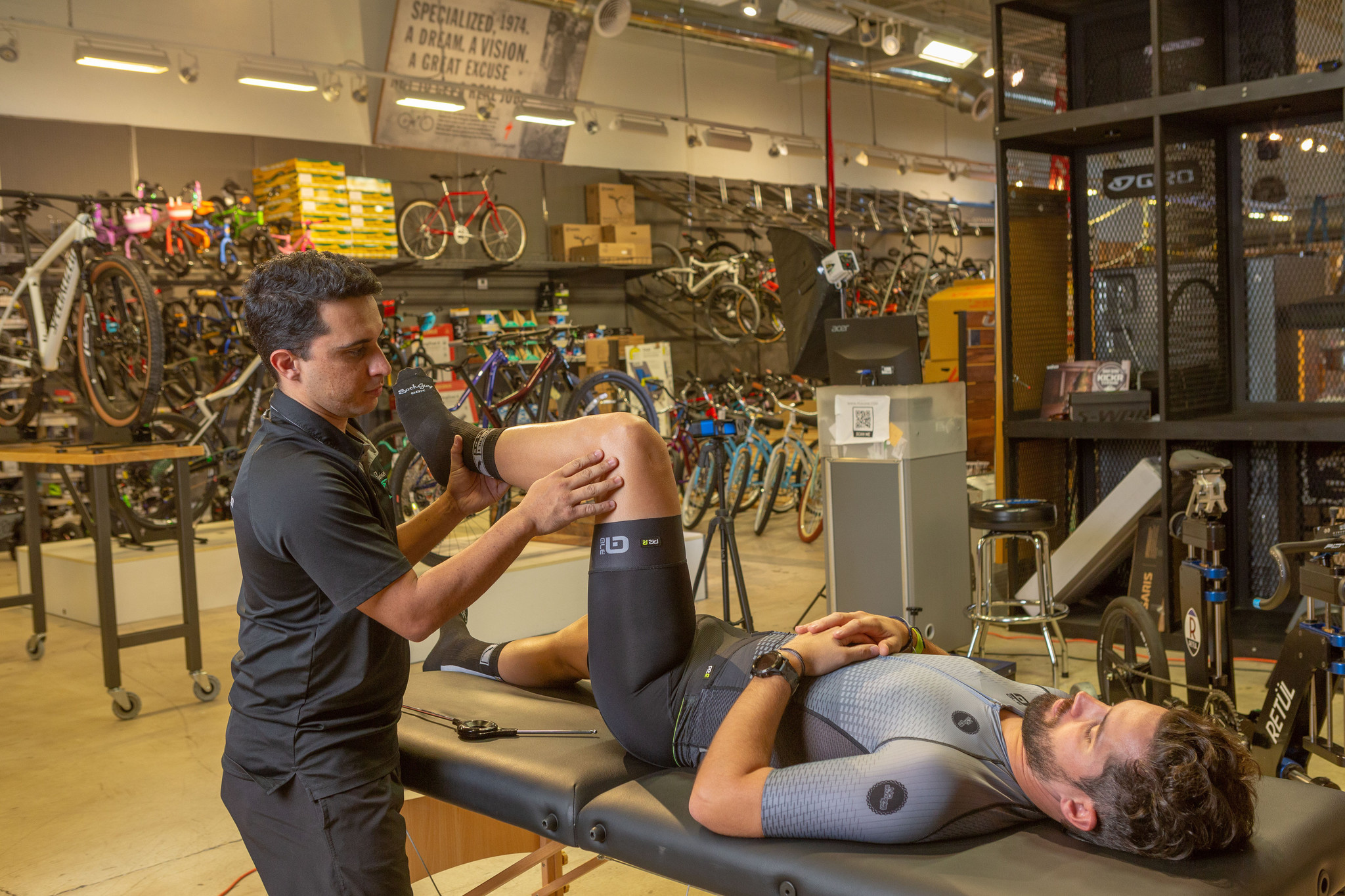 Two men in a physical assessment