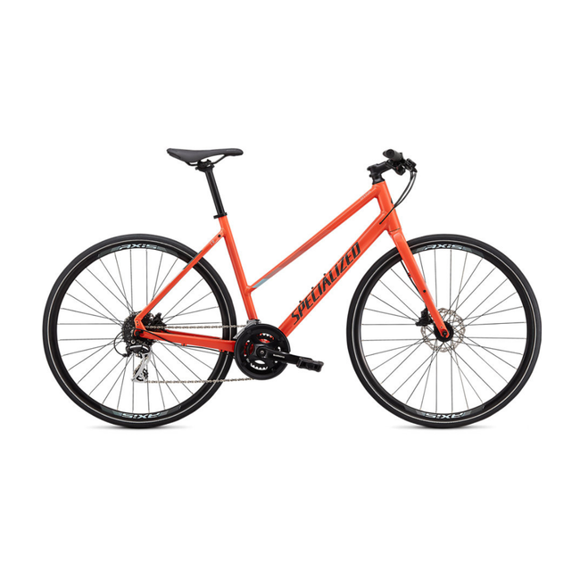 SPECIALIZED Sirrus 2.0 Step Through Gloss Vivid Coral / Summer Blue / Satin Black Reflective X-Small