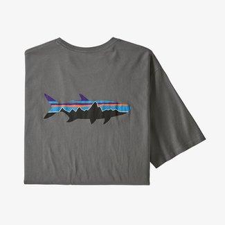 PATAGONIA Patagonia Fitz Roy Fish Organic T-Shirt Noble Grey w/Fitz Roy Tarpon Large