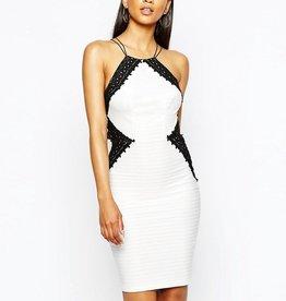 Lipsy Monochrome Lace Insert High Neck Double Straps Open Back Cami Dress