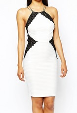 Lipsy Monochrome Lace Insert High Neck Double Straps Open Back Cami Dress