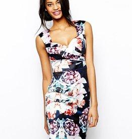 "<li>Color: Multi (Pink/Green/White/Black)<br /><li>All over graphic oversized floral print<br /><li>Form fitting<br /><li>Sweetheart neckline<br /><li>Sleeveless<br /><li>Pleated details<br /><li>Exposed back zipper closure <br /><li>Center back slit<br /><li>Length: 96cm / 37.75""<br /><li>Outer: 98"