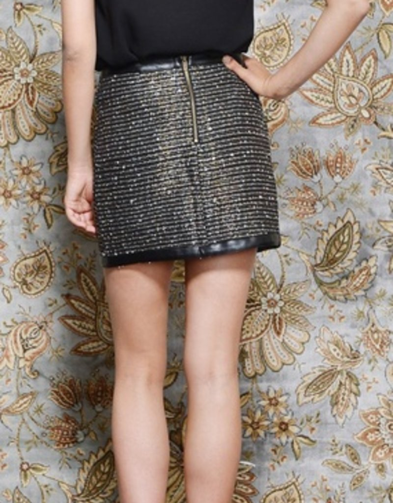 Greylin Czar Size S faux leather tweed wrap skirt w/ one side zipper and detail straps