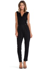 Greylin Marcia Size XS pleated wrap front w/ button closure v-neck slvls jumpsuit w/ pockets