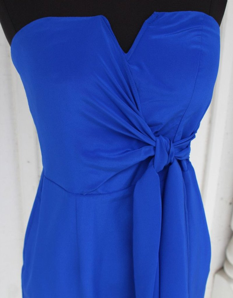 Charlie Jade Nikitta side sash tie wrap notched v-neck bustier strapless dress w/ pockets