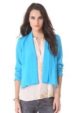Charlie Jade Cooper open front shawl collar silk blazer jacket