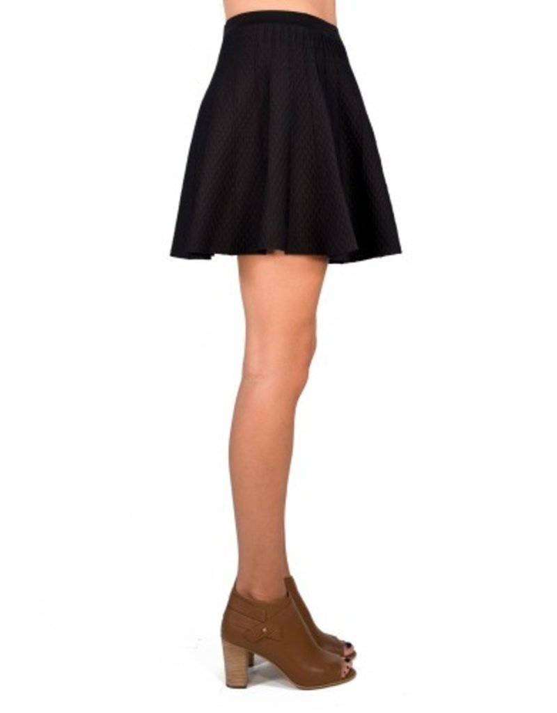 Charlie Jade Textured knit w/ subtle piping banded elastic waist a-line flared skirt