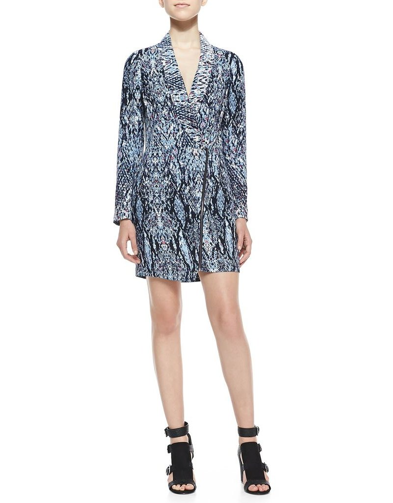 Charlie Jade Size XS Abstract print shawl collar v-neck lslv asymmetrical zip & overlay hem front romper w/ shoulder pads