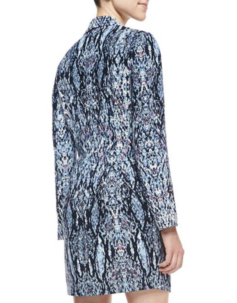 Charlie Jade Size XS Abstract print shawl collar v-neck lslv asymmetrical zip & overlay hem front romper w/ shoulder pads