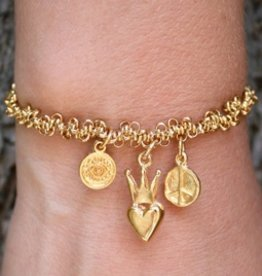 Blee Inara Heart and Peace Stretchy Chain Bracelet