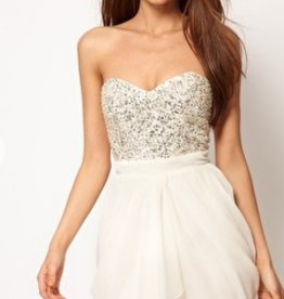 Lipsy Sequin sweetheart VIP bust dress w/ removable straps