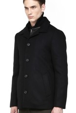 Mackage Doug button front flat wool coat w/ removable reversible leather-trimmed puff vest insert & rib knit collar