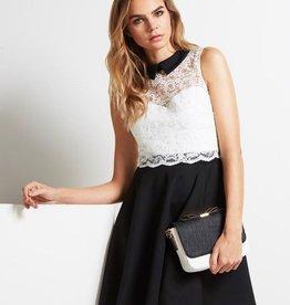 Lipsy Monochrome Contrast Lace Collar Skater Dress