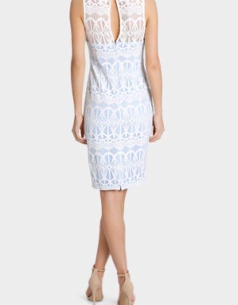 Lipsy Cornflower Allover Lace Crew Neck Slvls Bodycon Dress