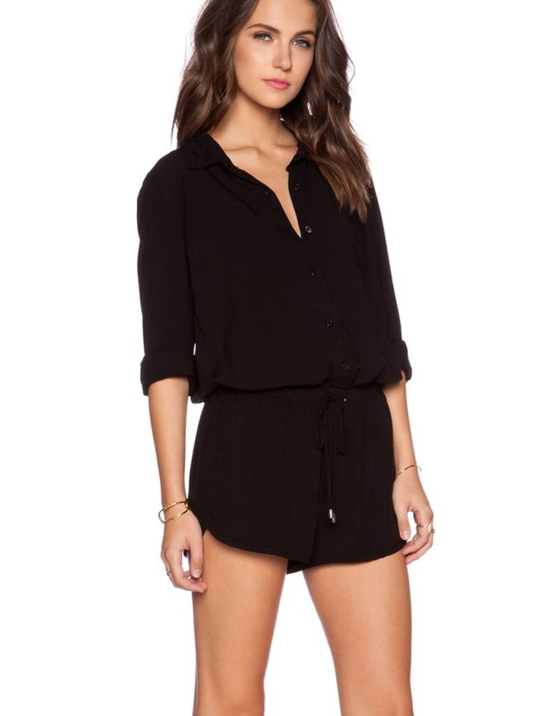 Splendid Rayon Voile Drawstring Long Sleeve Romper