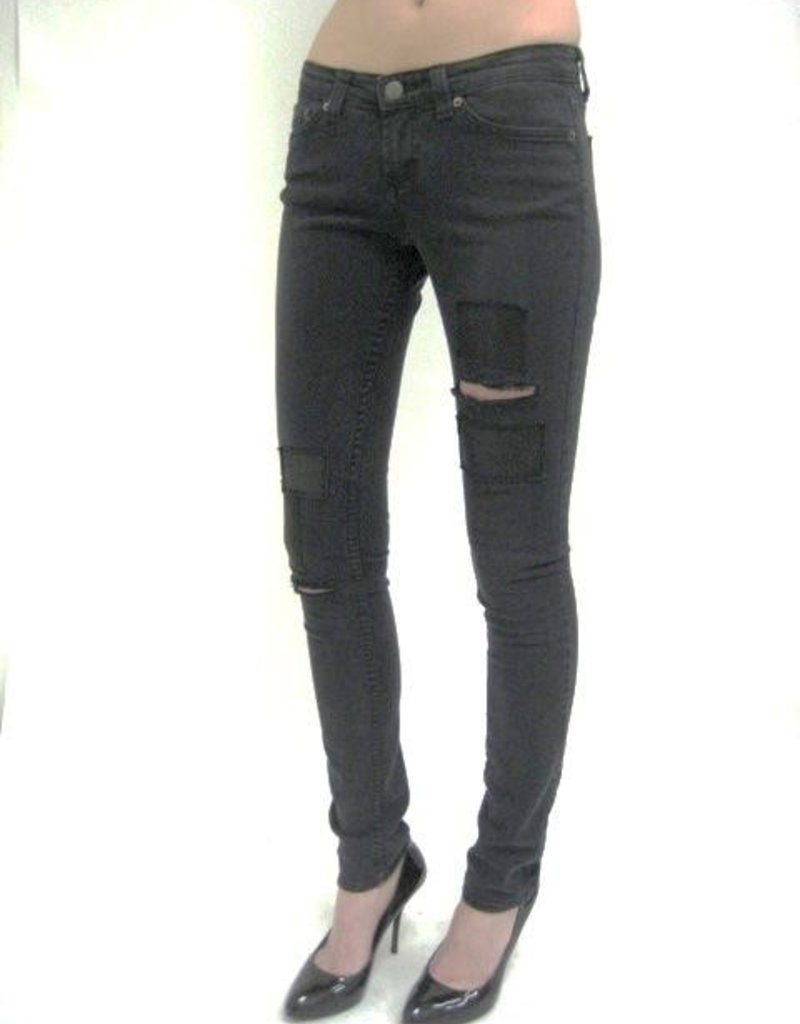 Jet by John Eshaya Faded Leather Patch Jean