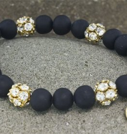 Blee Inara Volcano and Swarovski Beads 18K Gold Plated Stretchy Bracelet