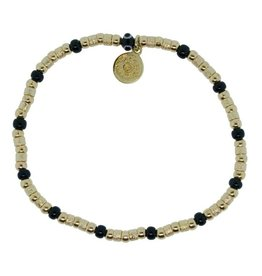 Blee Inara Blk Color and 18K Gold Plated Beads Stretchy Bracelet