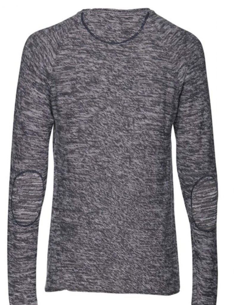 Casual Friday Melange Pullover Crew Neck L/S w/ Elbow Patches Pocket Knit Sweater