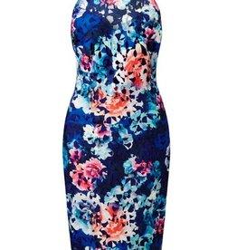 Dark Floral Lace High Halter Neck Tiered Scallop Hem Bodycon Dress
