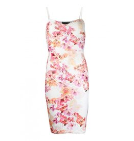 Lipsy Front Floral Print Allover Perforated Details Sweetheart Neck Cami Bodycon Dress