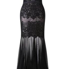 Lipsy VIP Applique Lace Sheer Mesh Skirt Sweetheart Bandeau Maxi Dress