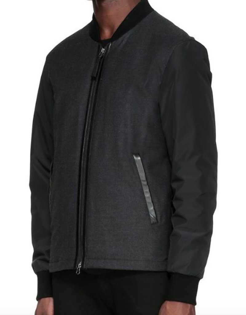 Mackage Clarence Light Weight Wool Flannel Down Bomber Jacket w/ Lavish Combo Sleeves