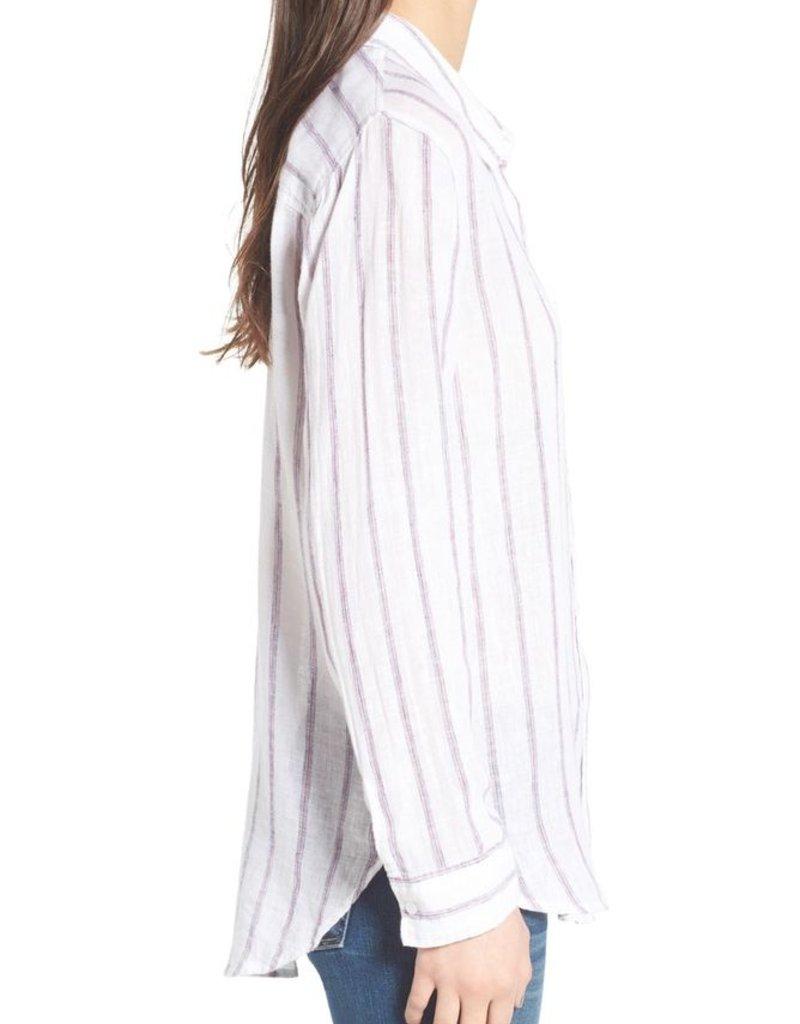Rails Charli Stripe Linen Blend Button Down L/S Shirt