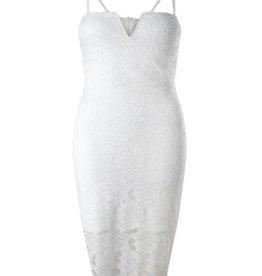 Lipsy Floral Lace Notched V-Neck Cami Bodycon Dress