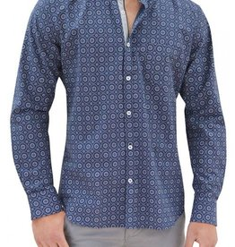 Stone Rose Floral Geometric with Solid Heather Grey Trim Dress Shirt