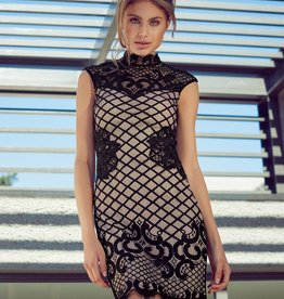 Lipsy Grid Lace S/S Dress