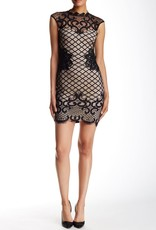 Lipsy Grid Lace Mock Neck Cap S/S Bodycon Dress