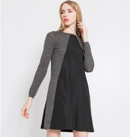 Silvian Heach Lalino Double Knit Fabric & Chiffon L/S Fit Flare Dress