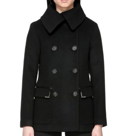 Mackage Phoebe Asymmetrical Spread Collar Double Breasted Flat Wool Peacoat