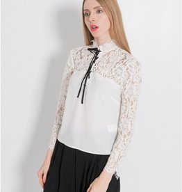 Silvian Heach Madiumba Contrast Tie Front Lace Blouse Top
