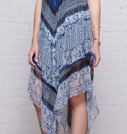 Greylin Murakell Paisley Print 3-Tiered Hanky Silk Dress