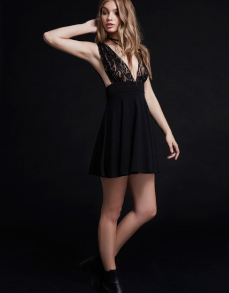 Wyldr Moon Chime - Deep V Sheer Lace Busted Tie Back Skater Dress