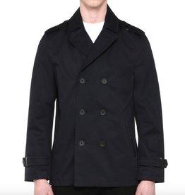 Mackage <li>Color: Navy<br /><li>Fits true to size<br /><li>Peacoat silhouette<br /><li>Neo trench coat<br /><li>Water resistant & Water Repellent.<br /><li>Undercollar in genuine cow leather<br /><li>Low hip length<br /><li>Double-breasted<br /><li>Cinch straps at sleeve cuffs<br /><li>Two front pockets wi