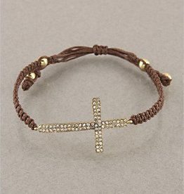 Loviea BRN pull tie bracelet w/ gold rhinestone cross