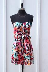 Charlie Jade Nikki floral print side sash tie wrap notched v-neck bustier strapless romper