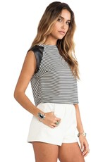 Greylin Casey striped crew neck faux leather sslv cropped top
