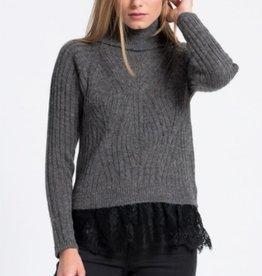 Silvian Heach Surbo Faux Layer Lace Hem Turtleneck Knit Sweater