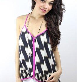 Charlie Jade <li>Color: Black/Khaki<br /><li>All over zig zag print with contrast solid Hot Pink trim around neckline, racerback straps and hem<br /><li>V neckline<br /><li>Cami straps<br /><li>Back T-strap<br /><li>High-low hem<br /><li>Unlined<br /><li>100% silk<br /><li>Dry clean only<br /><li>Made in China