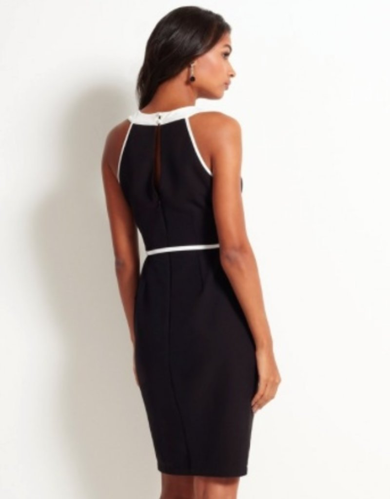 Lipsy Monochrome Halter Frill Shift Dress w/ Belt