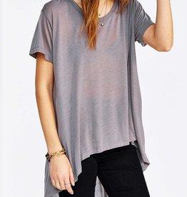 LNA <li>Color: Heather Grey<br /><li>Round neckline<br /><li>Short sleeves<br /><li>Extreme high-low hem<br /><li>Semi sheer fabric<br /><li>70% Modal , 30% Polyester<br /><li>Made in the USA